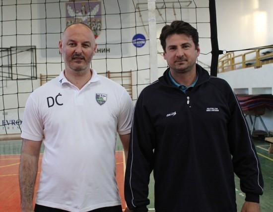 Nekadašnji saigrači: trener OK Klek Davor Ćuk prima čestitke od Vanje Grbića