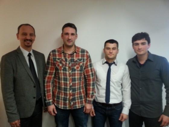 Predsednik sa trenerima: Janjić, Savatović, Cvejić i Kohajm