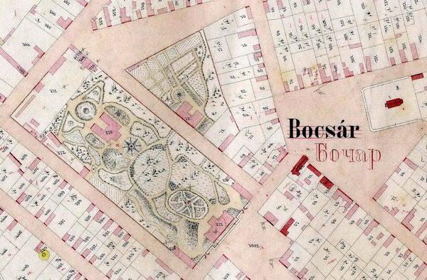 plan Bočara iz 1906. godine sa ucrtanim imanjima barona Ivana Bajića i Alojz Bajera (u 19. veku Hertelendi)