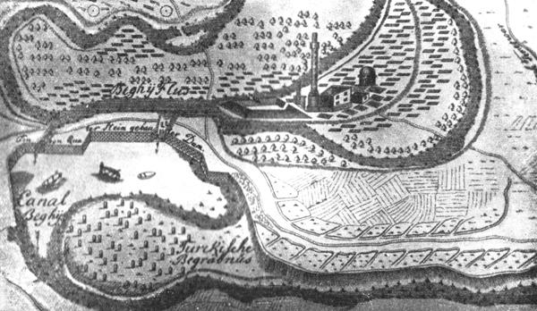 mapa turskog Bečkereka iz 1697. godine, gravira austrijskih inženjera