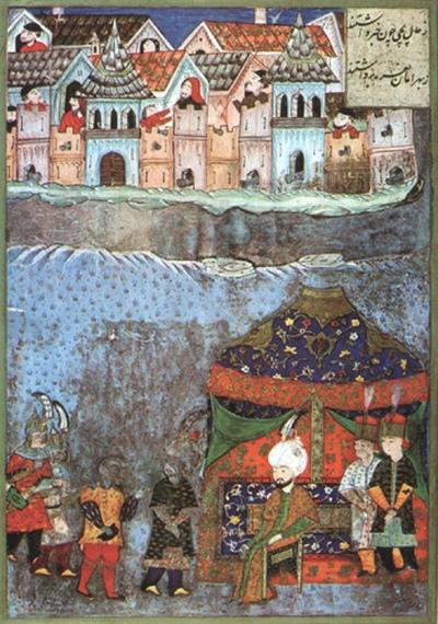 Predaja Bečkereka Mehmed-paši Sokoloviću, minijatura iz muzeja Topkapi, Istanbul