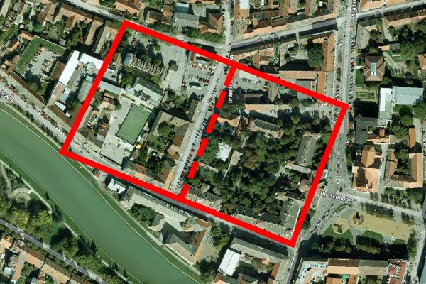 pretpostavljene granice tvrđave, unutrašnjeg i spoljašnjeg grada