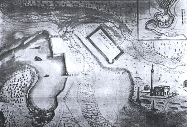 Mapa Bečkereka i tvrđave, s kraja 17. veka