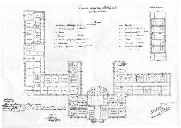 Plan dogradnje prizemlja zgrade 1885. godine, s potpisima graditelja Partoša i Lehnera